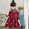 Cute Girls Autumn Dress Fashion Pleated Print Flower O-Neck Casual Children Girls Long Sleeve Dress Kids Girls Princess Dress
