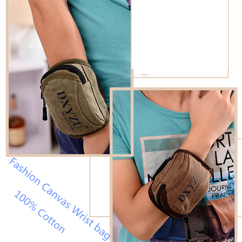 2017 New Vintage Small Canvas Wrist bags pure cotton Summer outdoor sport packs for phone coin military pouch men women