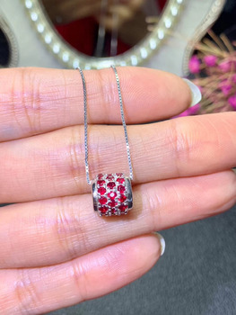natural red ruby stone pendant 925 silver Natural gemstone Pendant Necklace Fashion Cute column Tact Child women party jewelry