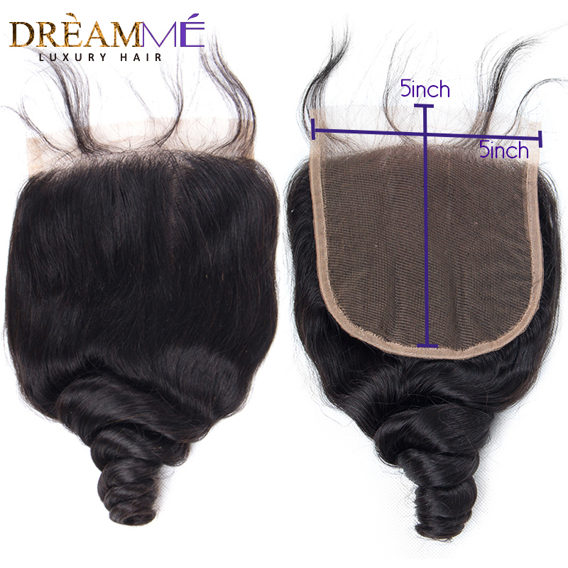 Dream Me 5x5 Loose Wave Lace Closure Free Part Human Hair Natural Color Brazilian Remy Hair