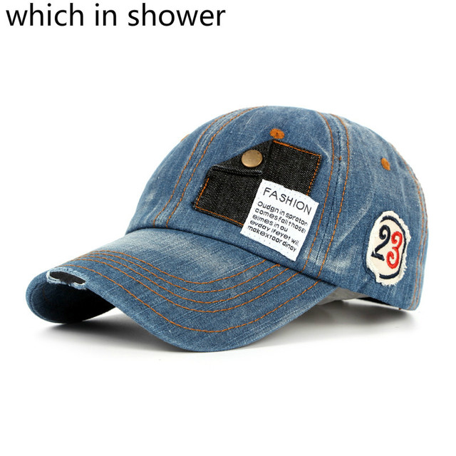 Which in shower Vintage Denim Baseball Cap Hip Hop Unisex Pocket Snapback  Hat Distress Trucker Bone Gorras Male Female Casquette 4ec5e8fc1f6