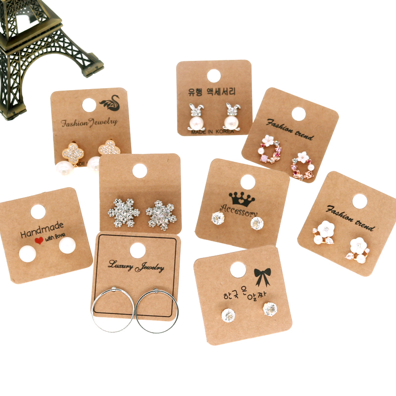 New Arrive 20pcs Kraft Paper Jewelry Cards 4*4cm White Paper Fashion Earring Stud Earring Display Card Tags Can Print Logo Card
