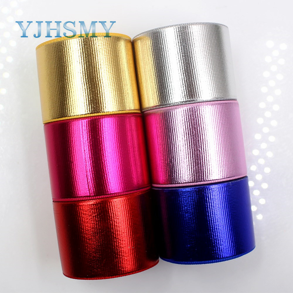 YJHSMY G-181027-1435,38mm 5yards/lot Solid color laser grosgrain ribbon,Wedding decoration,festival DIY Gift wrapping materials