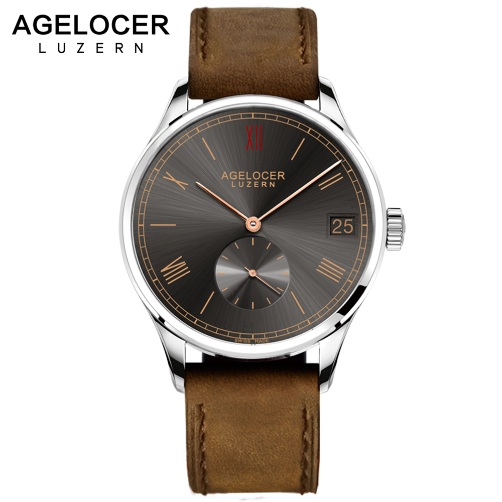 Agelocer Brown Watch Swiss Mechanical Timepiece Sport Mens Casual Wristwatches With France Leather Watch Strap Big Date Window agelocer brown watch a classic timepiece sport dual dial mens casual wristwatches wristwatch free shipping relojes para hombre