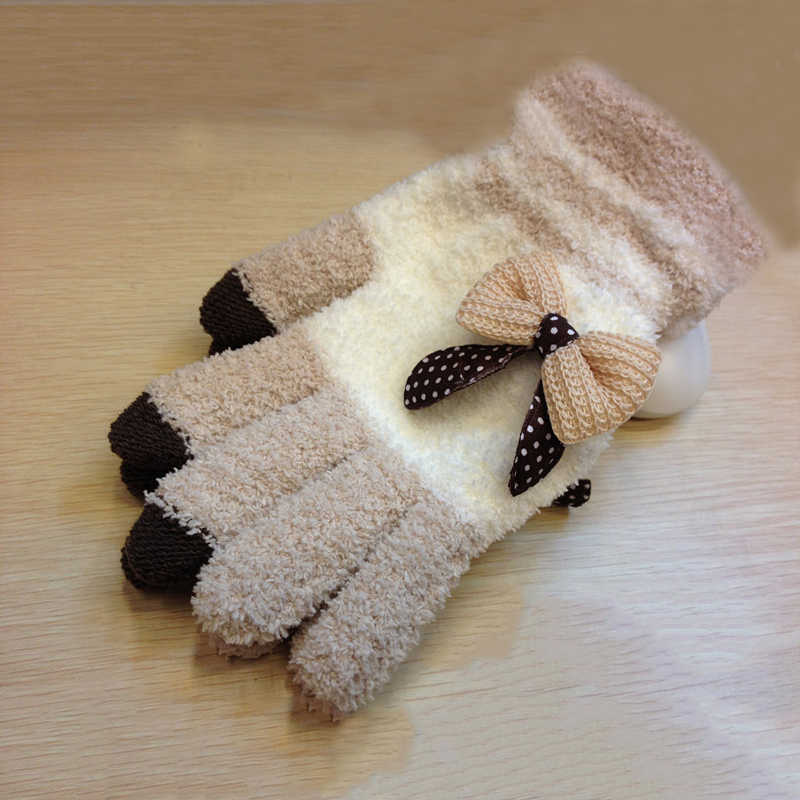 2018 autumn and winter new bow cute touch screen gloves coral velvet thick warm