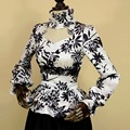 2016 primavera mulher jaqueta de verão Victoria do vintage Gothic costume party tops jaqueta casaco Feminino lace Ruffled Royal court Jacquard