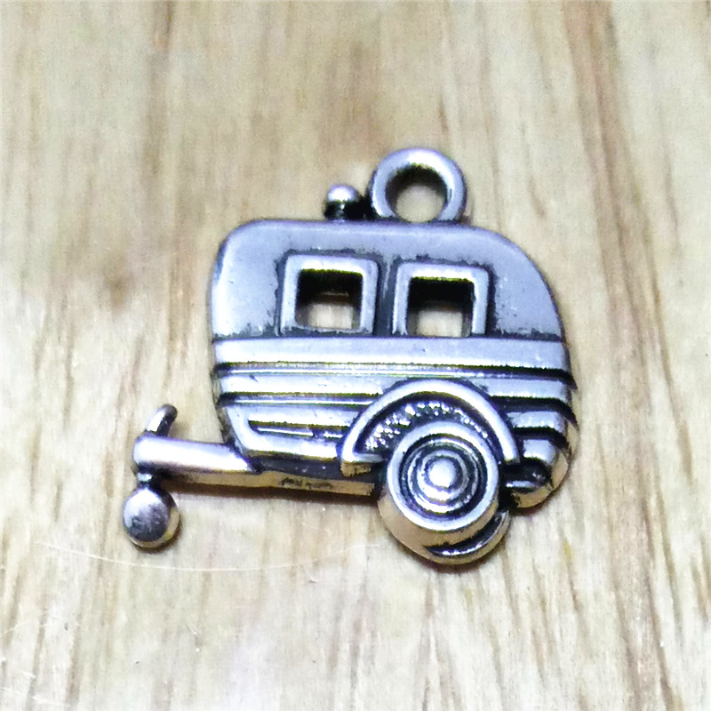 Metal camping trailer charm 20pcs antique silver plated ...