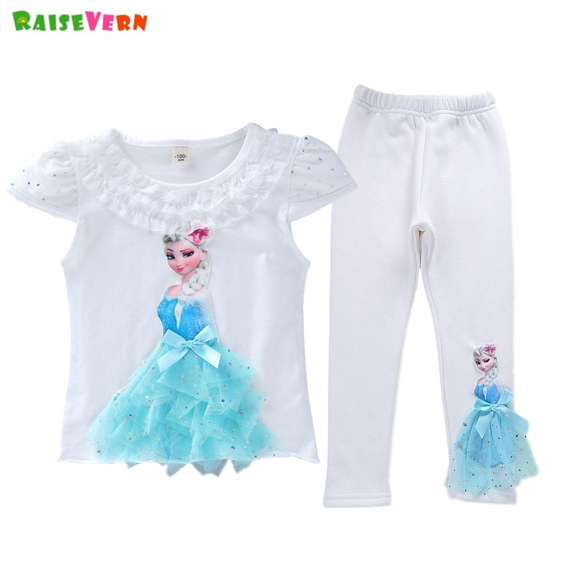 Clothing Sets 2018 Summer 2-10t Years Old Kids Baby Girls Clothes Birthday Lace Flower Patchwork Vest T Shirt+shorts Denim Blue 2 Piece Sets