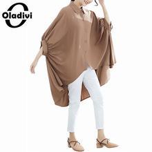 Oladivi 特大プラスサイズの女性バットショートフロントとロングバックトップ Tシャツシャツ女性のファッションブラウス女性 Blusa