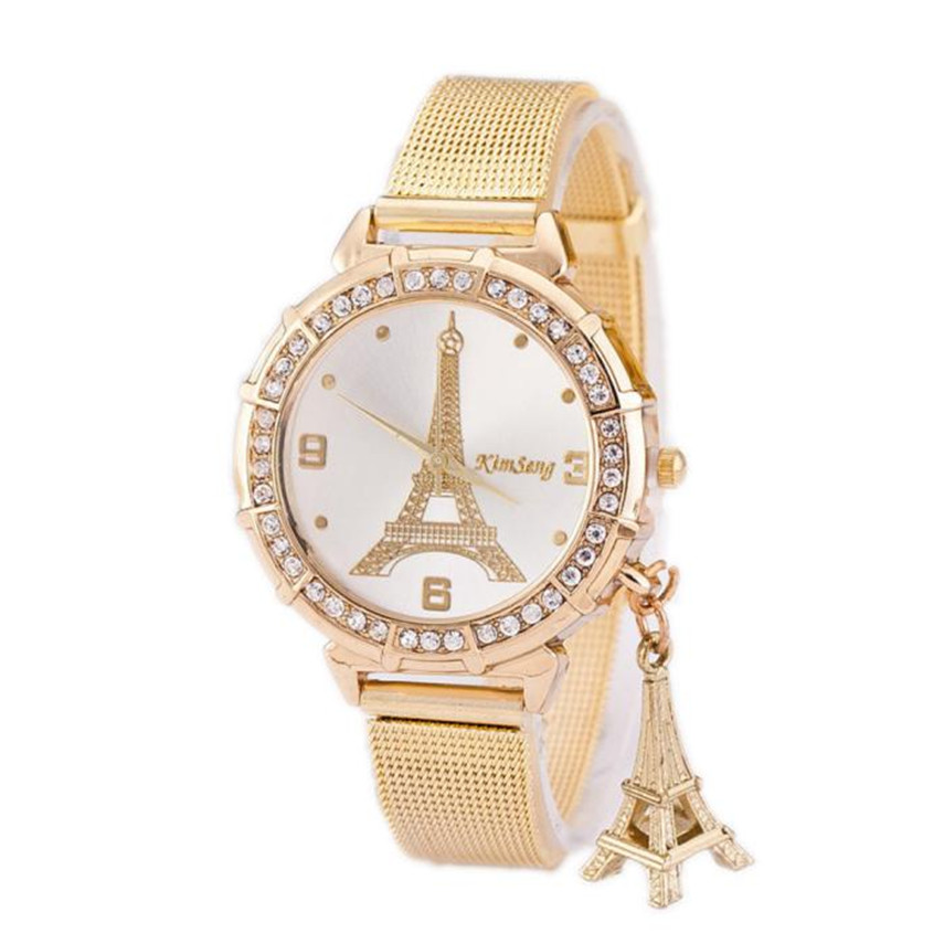 2019 Fashion Women Ladies Tower Gold Rostfritt stål Mesh Band Armbandsur