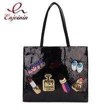 Neue Ankunft Cartoon Abzeichen Pailletten Pu Leder Mode Frauen Casual Totes Schulter Tasche Tote Tasche Weibliche Bolsa Geldbörse Handtasche 3 farbe