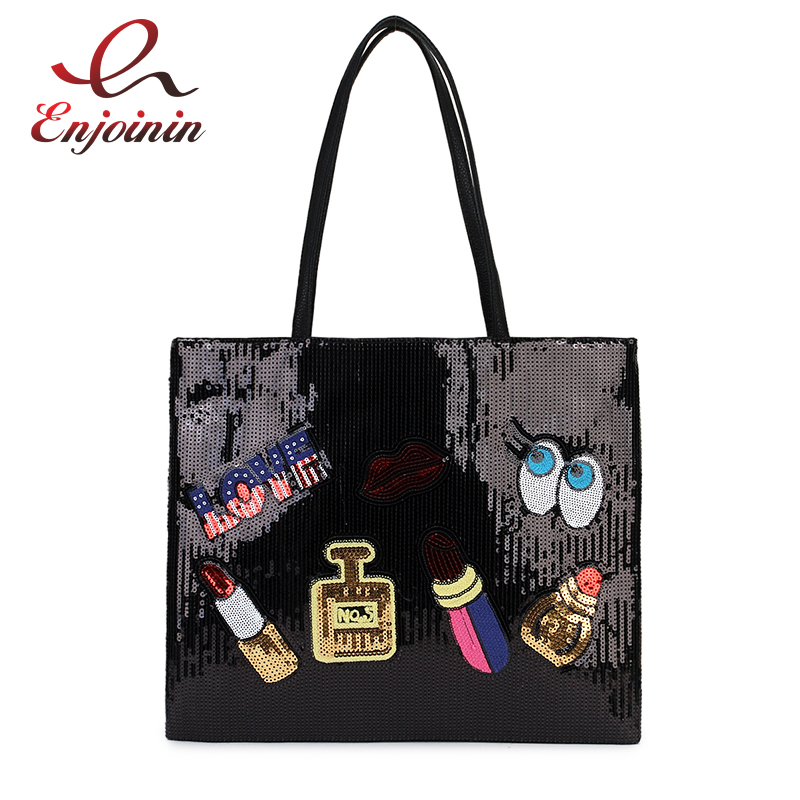 New Arrival Cartoon Badge Sequins Pu Leather Fashion Women Casual Totes Shoulder Bag Tote Bag Female Bolsa Purse Handbag 3 Color