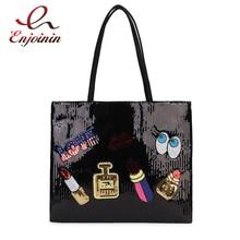 New Arrival Cartoon Badge Sequins Pu Leather Fashion Women Casual Totes Shoulder Bag Tote Bag Female Bolsa Purse Handbag 3 Color
