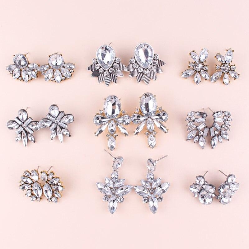 LUBOV Transparent Crystal Stone Drop Earrings Rhinestone Decoration Clear Opal Stone Dangle Earrings Trendy Women Party Jewelry