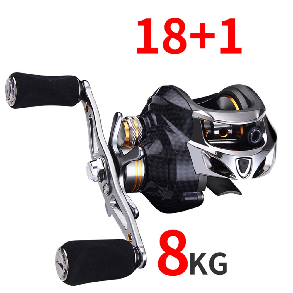 CARBON 18+1 BB Fishing Reel 6.3:1 Bait Casting Reel Left Right Hand Fishing reel One Way Clutch Baitcasting Reel