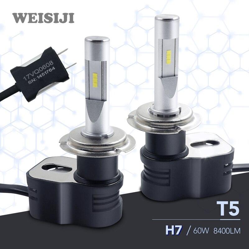 WEISIJI <font><b>LED</b></font> Headlight Bulbs T5 <font><b>H7</b></font> CSP Seoul 60W 8400LM 12V <font><b>24V</b></font> Car <font><b>LED</b></font> Headlights 6000K White lighting Auto Bulb Headlamp