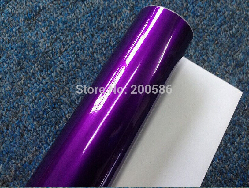 Glossy Metallic Purple Vinyl Wrap Film Candy Glossy Purple Car Wrapping With Air Free Midnight Purple Gloss Pearl Film 1.52*20M