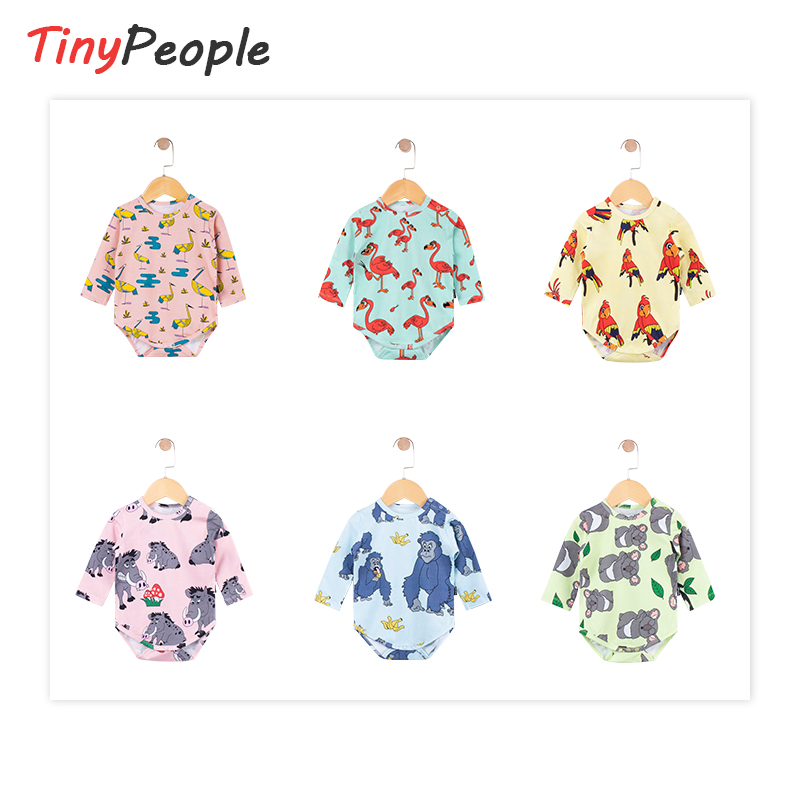 TinyPeople 2020 New Animal Cartoon Infant Bodysuit Baby Boys Clothes Girls Spring Autumn Cotton Clothing Kids Newborn Jumpsuit