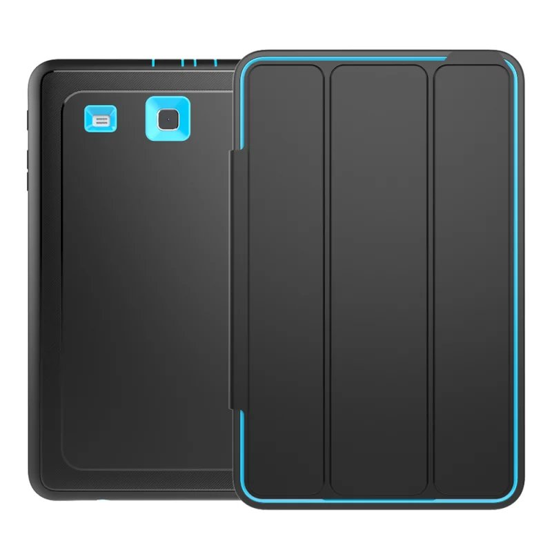 2016 New Black Folding TPU+Plastic Smart Case for Samsung Galaxy Tab E 9.6 T560 T561 Fundas Coque Hybrid Cover Shockproof 5Color tt tf ths 02b hybrid style black ver convoy asia exclusive
