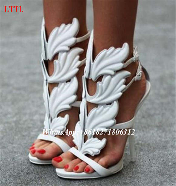 27decb7a63b1 placeholder LTTL Design Cruel Summer Leaves Angle Wings Shoes Woman Buckle  Strap Gladiator High Heels Sandals Women