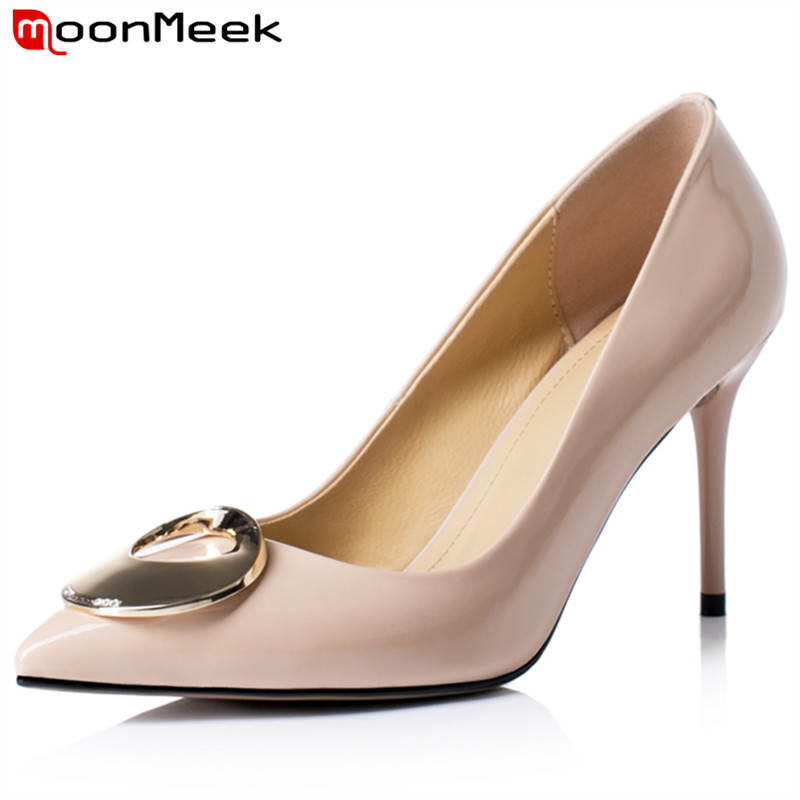MoonMeek 2019 new arrival super high heel woman shoes pointed toe genunine leather metal decoration shoes sexy fashionable shoes in Women 39 s Pumps from Shoes