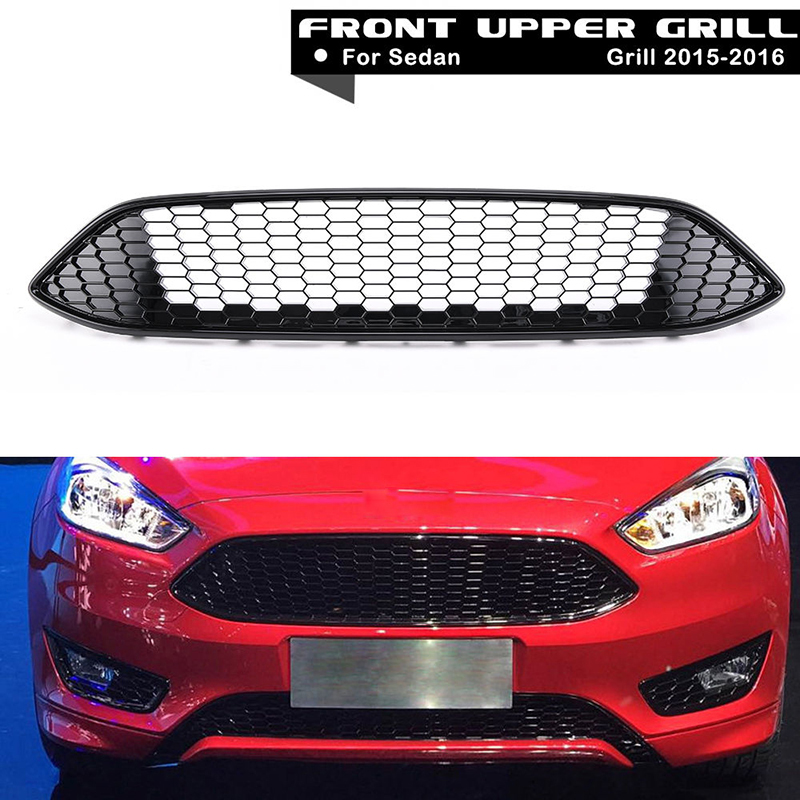 1Pcs Car Racing Grille For Ford Focus MK3 ST LINE 2015-2017 Grill ABS Gloss Black Radiator Chrome Front Bumper Upper Modify Mesh front radiator centre grille panel for ford for focus mk3 st line radiator grill bumper honeycomb mesh cover moulding part