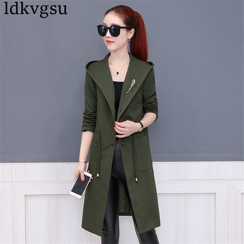 2018 Female Spring Autumn Coat Women Fashion New Slim Hooded Windbreaker Coat Women Solid Color Elegant Long   Trench   Coats A870