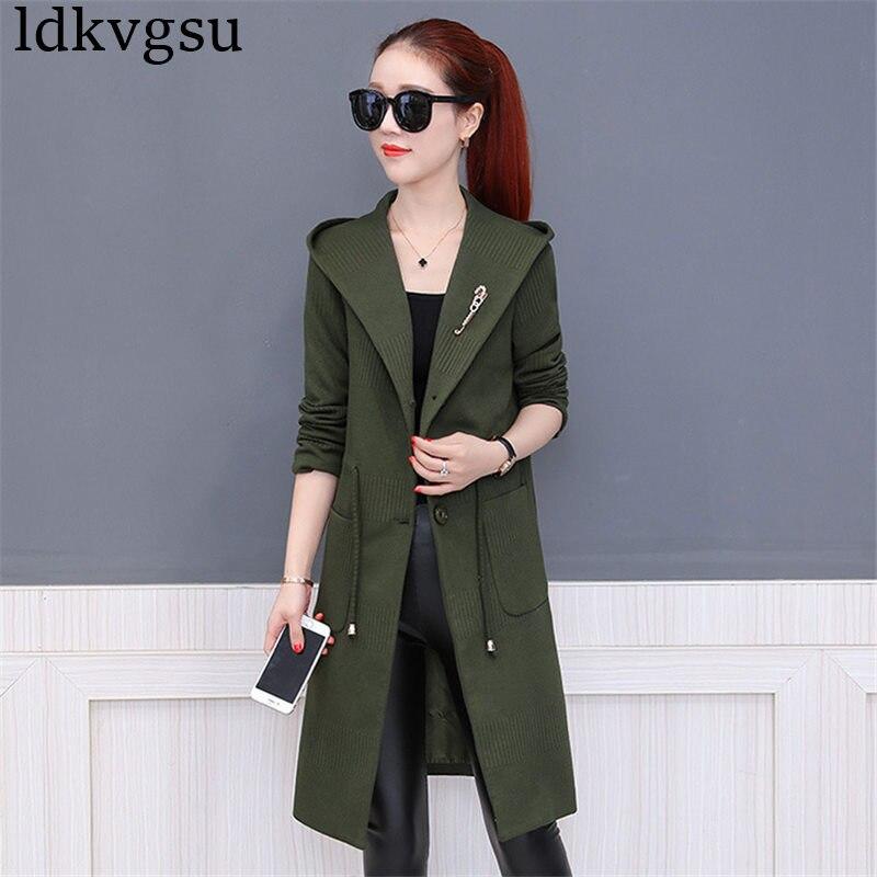 2018 Female Spring Autumn Coat Women Fashion New Slim Hooded Windbreaker Coat Women Solid Color Elegant Long Trench Coats A870