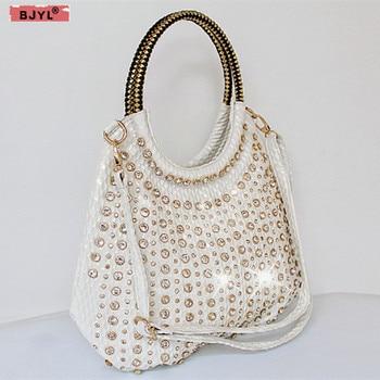 2020 luxury fashion diamond women handbags patent leather shoulder bag female slung white rhinestone messenger crossbody bag