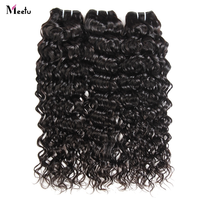 Meetu Indian Water Wave Bundles 100 Human Hair Weave Natural Black Color Non Remy Hair Extensions