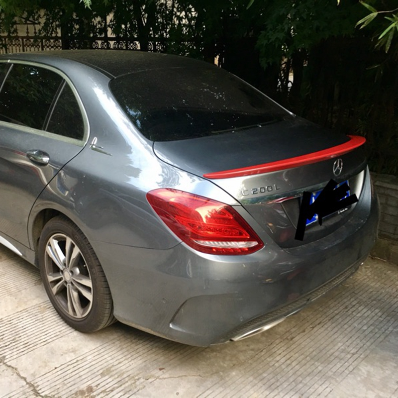 ForFor Mercedes <font><b>W205</b></font> <font><b>Spoiler</b></font> 4-Door Sedan C63 C180 C200 C250 C260 ABS Plastic Tail Wing Unpainted Primer Color for benz <font><b>w205</b></font> image