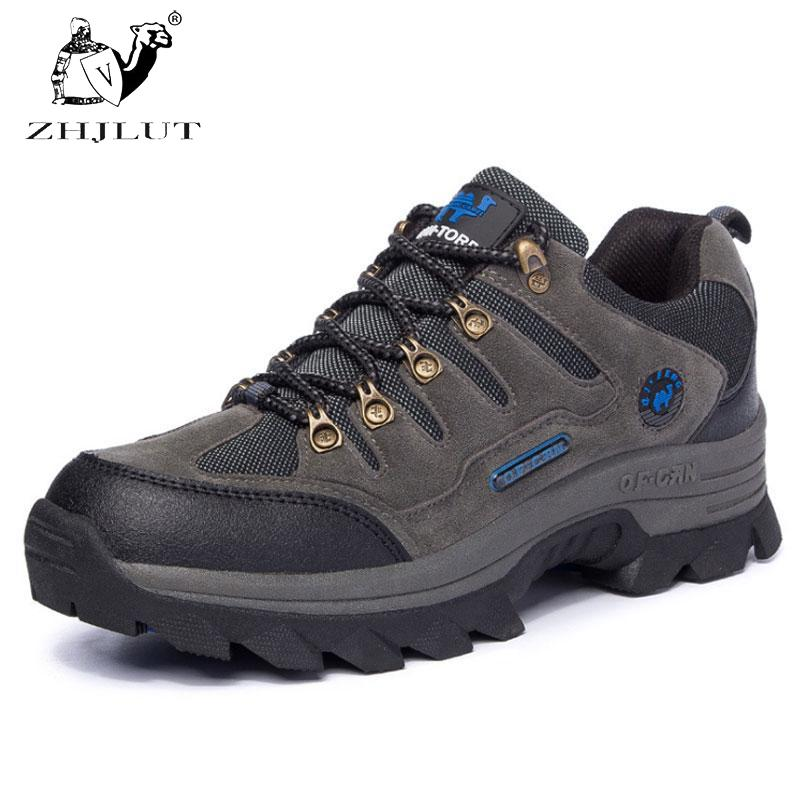 ZHJLUT Shoes Men Women Water-resistant Outdoor Hiking Boots Climbing Walking Trekking Boot Mens Leather Hiking Shoes sale outdoor sport boots hiking shoes for men brand mens the walking boot climbing botas breathable lace up medium b m