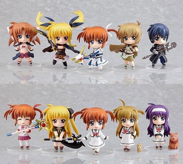 11pcs/set Anime Magical Girl Kaname Madoka Nanoha Takamachi Cute Doll model PVC Action figure Ornaments Toy Gift