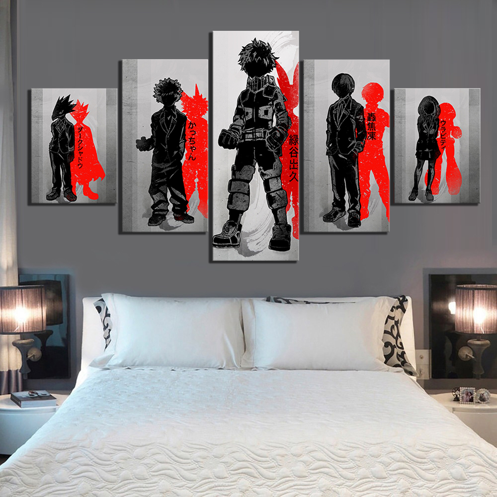 5 Piece Ink Art Cartoon Pictures My Hero Academia Anime Poster Black White Wall Art Paintings for Bedroom Wall Decor 1