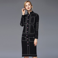 Small Fragrant Wind Autumn Small Bee Button Thick Knitted Cardigan High Waist Knittedtwo Sets Women Suits