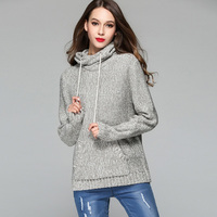 2019 Winter Warm Women Sweater Loose Hooded Female Sweater Long Sleeve Knitted Pullover Feminino Thick Sweater Plus Size Gray