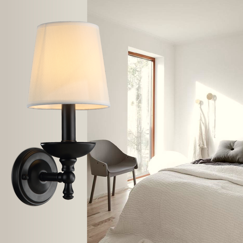 American bedroom bedside lamp wall lamp lighting bright cloth shade garden simple bedroo ...
