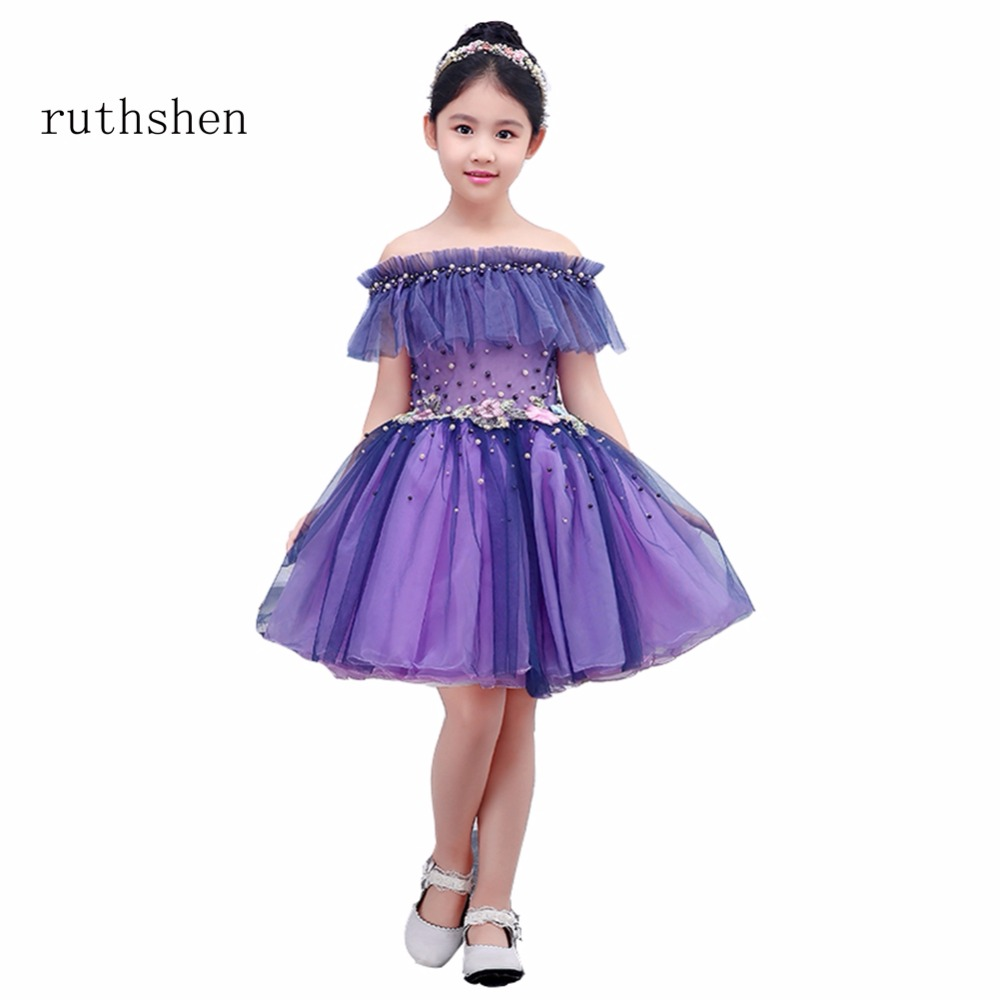 Ruthshen 2018 New Flower Girl Dresses Boat Neck Purple Real Photo
