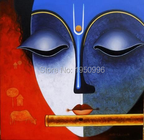 Indian Classical Religious Elegant Three Women Beautiful Portrait Handpainted Oil Painting Canva Wall Art For Living Room Decor In Calligraphy