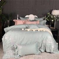 Из египетского хлопка принцесса Постельное белье Китайская вышивка King queen размер постельное белье Розовый Зеленый простыня/постельное бел