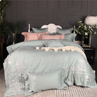 Egyptian cotton Princess Bedding Set Chinese Embroidery King Queen size bed set Pink Green Bed Sheet/Linens Duver Quilt Cover