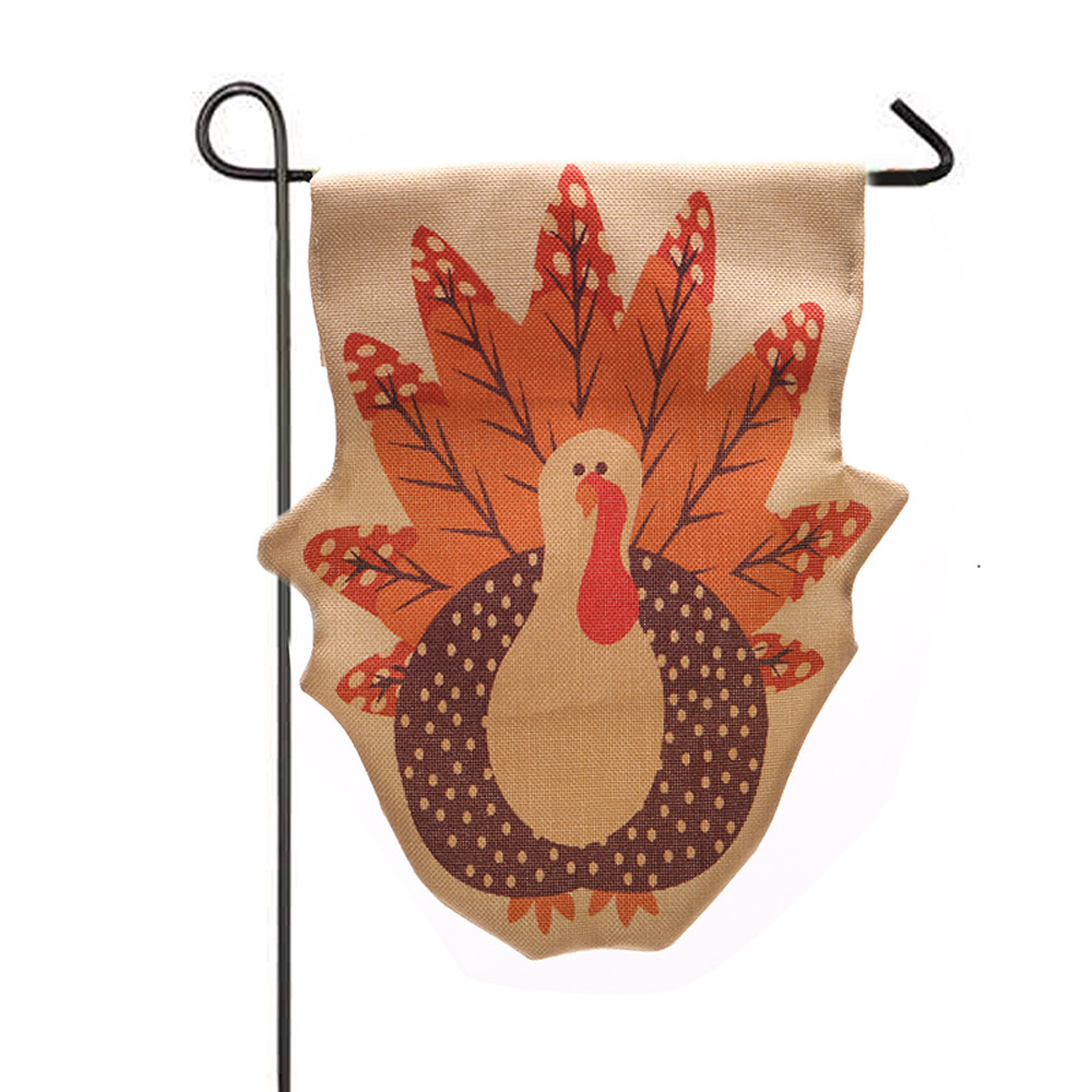 Thanksgiving turkey decor - Garden Flag Indoor Outdoor Home Decor Thanksgiving Turkey Fall Flag Christmas Santa Claus Fall Flag Stocking Hangging