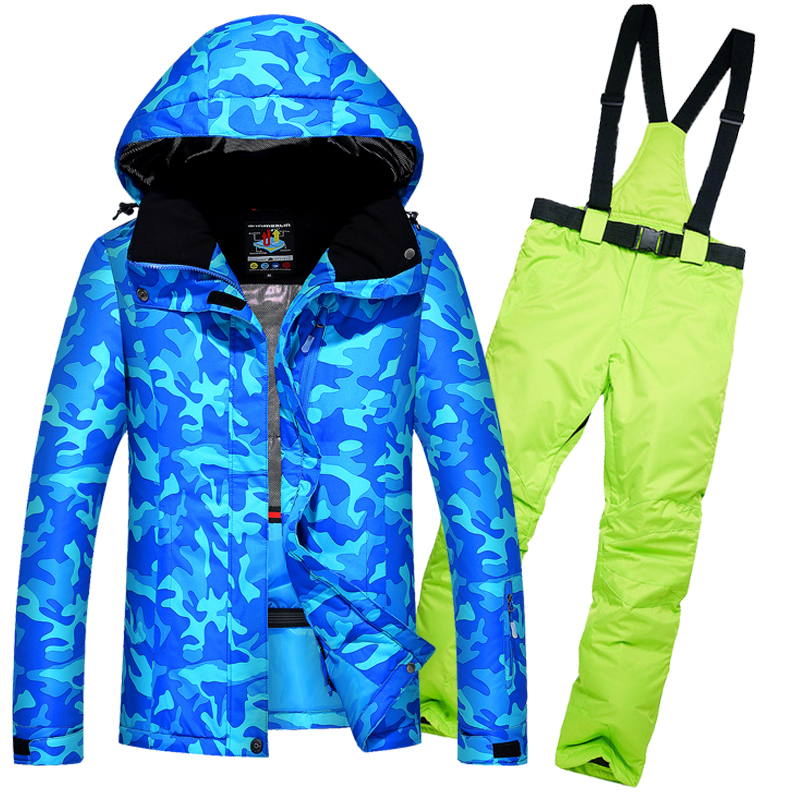 High Quality Women's Skiing Suits Waterproof Windproof Thick Female Warm Ski Jacket Snow Pants Set Outdoor Women Skiing Clothes gsou snow womens outdoor ski pants high waist denim skiing pants female snowboarding pants thickening windproof waterproof warm