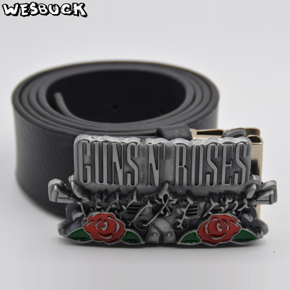 5 PCS MOQ WesBuck Brand American classic hard rock band Roses Buckle for zinc alloy metal vintage belt buckle With PU Belt image