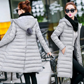 2016 outono inverno damas amassado feminino casaco fino de médio-longo com capuz fino de algodão para baixo-acolchoado jaqueta outerwear