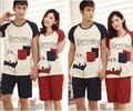 Summer short-sleeved couple pajamas Big yards two-piece ladies cotton pajamas boy's suits