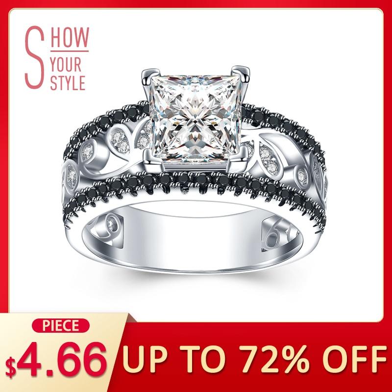 [BLACK AWN] Real 925 Sterling Silver Silver Engagement Rings Unaza Dasma e modës për Gratë Sterling Argjend C020