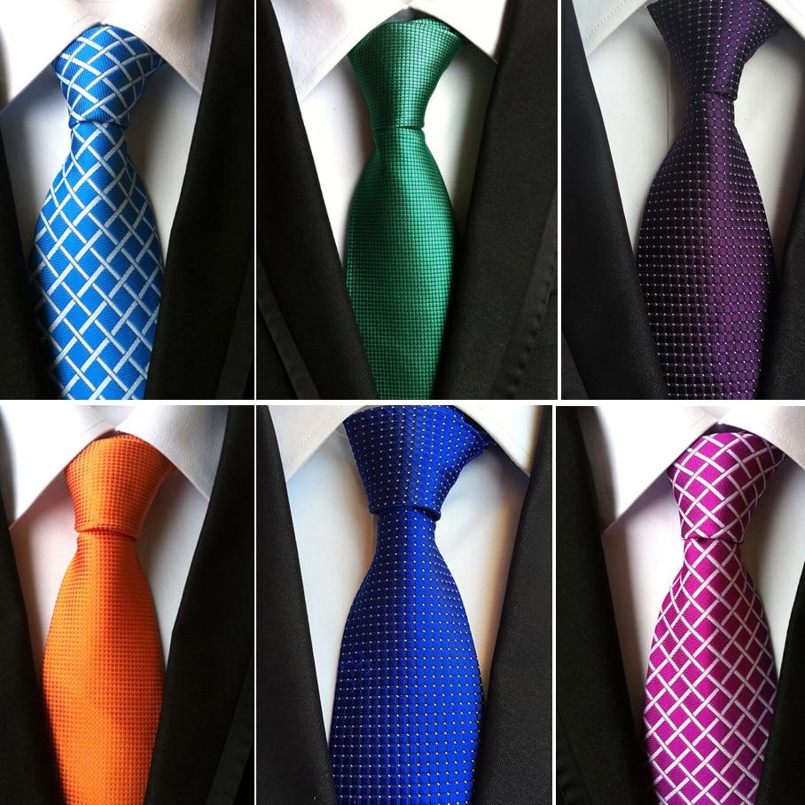RBOCOTT Plaid Ties Men's Fashion Tie 8cm Blue Necktie Green & Orange Color Neck Tie For Men Business Red Wedding Suit Accessory