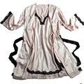 2016 mujeres sexy albornoz bata femenina correa de espagueti de seda ropa de dormir de encaje twinset conjunto camisón más tamaño salón Camisón