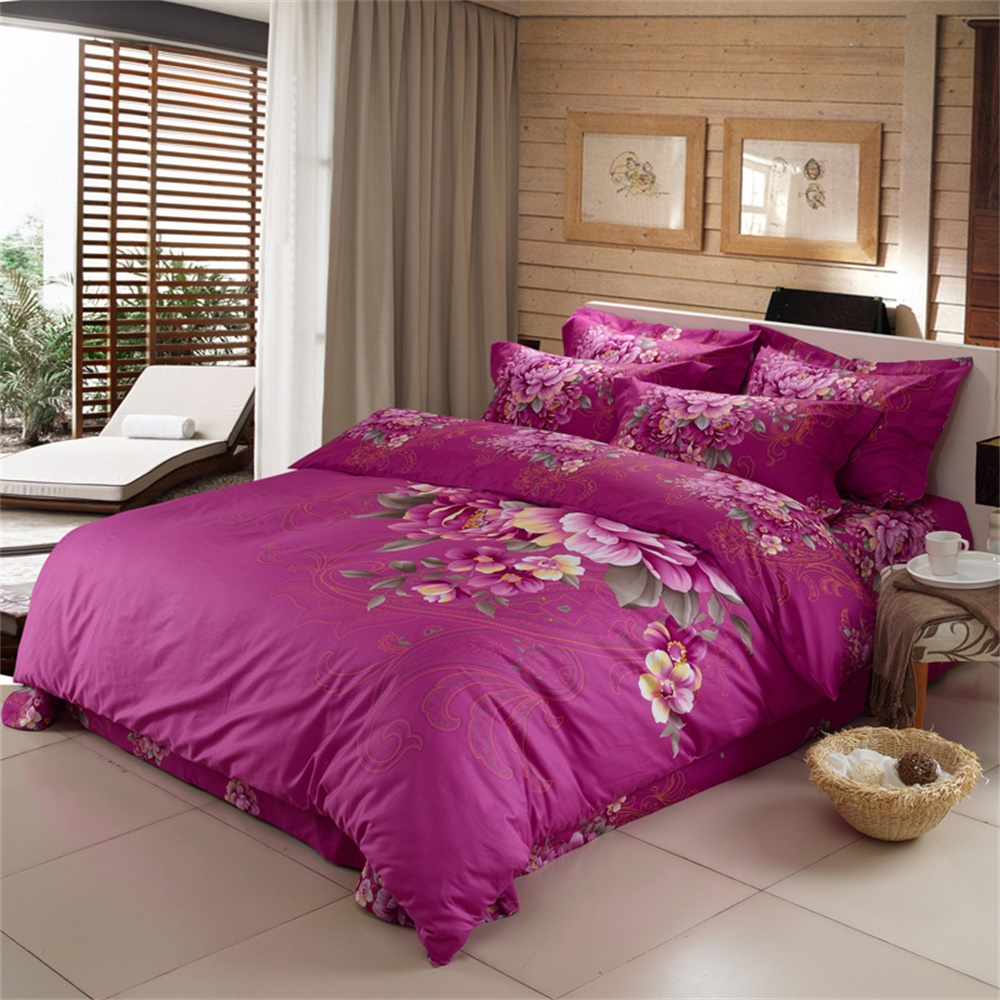 Plum Duvet Cover Oriental Classics Floral Scrolls Peony Rose Plum Bedding Sets Queen Size King Size Pure Cotton Bed Sheets Duvet Cover Set 4pcs In Bedding Sets From